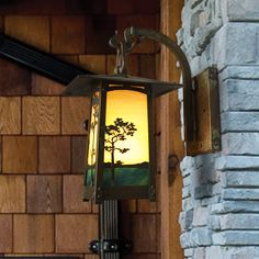 Cobblestone hook arm lantern with our beautiful Monterey Pine Filigree
