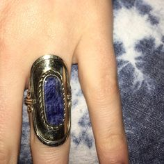 Handcrafted Blue Marble Stone Ring Boho style silver and blue stone ring! Bought this gorgeous ring from Ten Thousand Villages! Wore it once, received many compliments! It has a blue stone and is adjustable in size. The ring does not pull on clothing or hair when worn like most rings. NO TRADES Ten Thousand Villages  Jewelry Rings