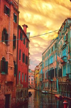 Colorful canal in Venice, Italy.