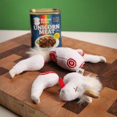 Canned Unicorn Meat Plush Toy Think Geek Joke Item Costume Prop Gag Gifts, Best Gifts, White Walker, Gadget, Game Of Thrones, April Fools, Dinosaur Stuffed Animal, Stuffed Unicorn, Lamb