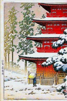 Japanese Woodblock repro KAWASE HASUI RED TEMPLE WATANABE ASIA GICLEE SHIN HANGA #ArtDeco