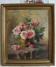 ANTIQUE SCOTTISH IMPRESSIONIST PAINTING ROSES by LUCIE TOMBEUR RSA Listed c1906