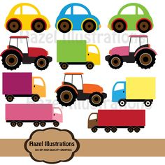 Digital toy cars trucks clipart. $3.00, via Etsy.