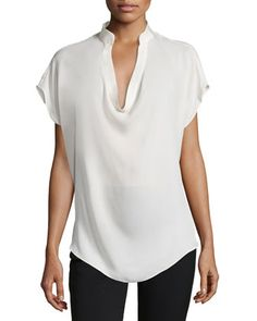 Colman Silk Cowl-Neck Blouse by Haute Hippie at Neiman Marcus.