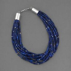 Wright's Indian Art: 10 Strand Lapis Necklace by Albert and Alfred Lee