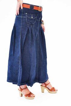 Queenie' Long Denim Skirt. Long Jean skirt. Modest Skirt ...