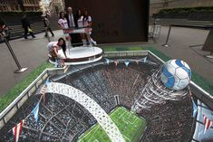 Street Art is usually created using chalk and is 2 dimensional artwork found on pavements. sidewalk chalk art is famous for given the illusion of when viewed from a certain perspective. Street painting, also 3d Street Art, 3d Street Painting, Amazing Street Art, Awesome Art, 3d Painting, 3d Sidewalk Art, 3d Floor Art, 3d Chalk Art, Art 3d