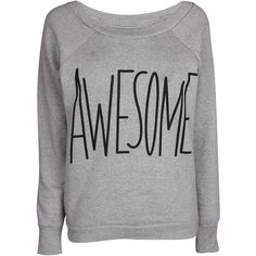 Grey Awesome Sweat Top ($10) ❤ liked on Polyvore featuring tops, shirts, sweaters, jumpers, grey top, gray shirt, cuff shirts, logo shirts and polyester shirt