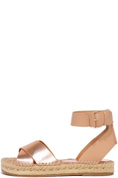 Bold and eye-catching, the Circus by Sam Edelman Amber Apricot Espadrille Sandals are a sunny dream come true! Rose gold vegan leather crosses over an open toe, while a nude ankle strap fastens with a gold buckle. Available in whole sizes only.