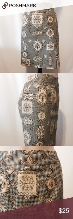 """☀️ Talbots Medallion Print Stretch Pencil Skirt Stylish statement! Medallion print with a tiny Black and Tan check background. 2"""" contour waistband, slash side pockets, center back invisible zipper closure with back kick pleat.   97% cotton 3% spandex  Machine washable   30"""" waist  39"""" hips  40"""" sweep  21"""" overall length Talbots Skirts Pencil"""