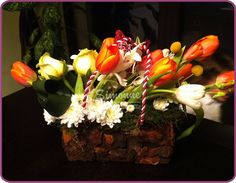 flowers'bag - special flowers' arrangement for special ocasion also good for decorating a house for spring, summer, fall.