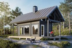 Modern cabin in Finland by Honka Log Homes Small Dream Homes, Small Cottage Homes, Small Cottages, Texas House Plans, Tiny House Plans, Tiny House Cabin, Tiny House Design, Backyard Guest Houses, Summer Cabins