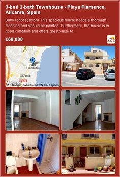 3-bed 2-bath Townhouse in Playa Flamenca, Alicante, Spain ▶€69,000