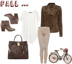 Brown leather / suede jacket, white t-shirt, beige ankle boots, khaki skinny jeans