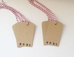 Christmas Gift Tag Hand Stamped Noel Tag in by WideSkyPapercrafts, £6.00