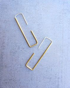 Rectangle or laiton fil long moderne simple boucles par lunahoo