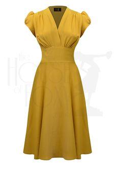 1930s 40s Ava Tea Dress in Mustard Crepe