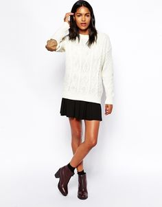 Enlarge Glamorous Cable Knit Sweater with Elbow Patch