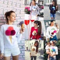 Wish | street style Plush Cherry Sweatshirt Blouse Long Sleeve Top