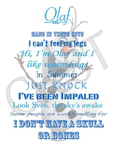 """Disney FROZEN/Olaf Movie Quote Print by Cre8T on Etsy, $3.00 Hey guys! Check out my Etsy Store, """"Cre8T"""", for more Prints & Photography.  -Tia"""
