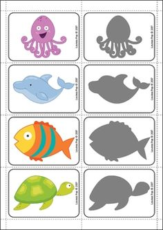 Ocean Preschool and Kindergarten Center Activities. Match the ocean creatures to the correct shadow.