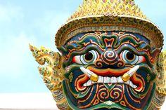 Wat Phra Kaew City Of Angels, Captain Hat, Lion Sculpture, Around The Worlds, Statue, Hats, Bangkok Thailand, Color, Hat