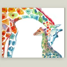Mommy and Baby Giraffes Art Print by emmakaufmann on BoomBoomPrints
