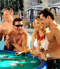 Vegas Swim-Up-Blackjack and Poolside Gambling - In the city that never sleeps there are a number of resort casinos which offer this more casual type of classic casino game play. Just to mention a few of the Las Vegas Casinos that offer Swim-Up-Blackjack and other Poolside Games;