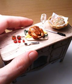 1:12 scale Dollhouse miniature Roast chicken made by @mmmbyselma