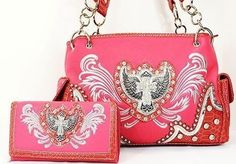 PINK or BLACK Matching HANDBAG & WALLET Cross With Wing Western Rhinestone Bag  #SSFashionLeathers #ShoulderBag