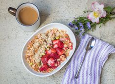 coconut oatmeal with roasted strawberries and pistachios — rubeslovesfoods