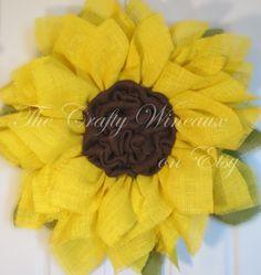 Sunflower Burlap Wreath, Summer Wreath - pinned by pin4etsy.com