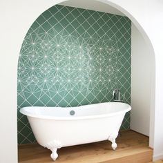 Handmade mosaic by artist Anne Dérian for a loft in Berlin-Prenzlauerberg. Made to measure by hand, using high quality portuguese ceramic tiles, her working method allows her to offer very unique mosaics.