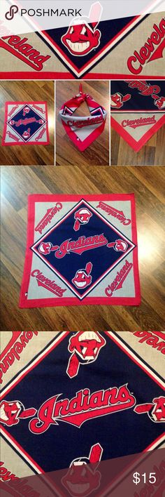 """Vintage Official 1995 Cleveland Indians Bandanna. Refer to pictures for description. 100% Cotton. 1995. Approximately 21"""" x 21"""". Please ask any questions before purchasing. Thank you Price Firm. Will delete offers! Vintage Accessories"""
