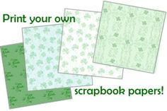 These free printable St. Patrick's Day scrapbook papers have various shades of green that give you color and design flexibility for your scrapbook pages, handmade cards or other craft projects.