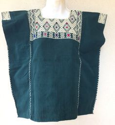 Lovely #mexican blouse  #embroidered #embroidery #turquoise #textiles #handmade #etsy #huipil #craft #bohemian #boho #gypsy #blouse