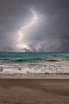Lightning on the ocean
