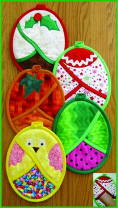 Full-sized pattern pieces to sew up generously-sized, easy slip-on hot pads for all four seasons!  They have a crisscross design that forms a pocket in front to protect your hands from the heat.  Sew quick, easy and fun...