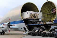 Orion Heat Shield Transported Aboard Super Guppy Plane The heat shield for NASA's Orion spacecraft was loaded onto a Super Guppy plane in Manchester, N.H. on Dec. 4, for transport to Kennedy Space Center in Florida. The heat shield, the largest of its kind ever built, is being unloaded Thursday, Dec. 5, and is scheduled for installation on Orion in March 2014.