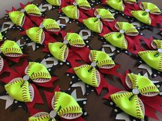 Lot of 12 Softball Bows For Teams/Bulk Order by CharacterBowtiqueTH on Etsy https://www.etsy.com/listing/232949285/lot-of-12-softball-bows-for-teamsbulk