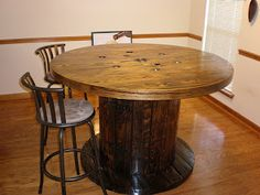 Cable Spool Table Tutorial: I love this for the game room!