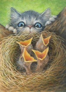 """Art by Lynn Bonnette: """"Who Lives Here? Art Mignon, Creation Photo, Illustration Art, Illustrations, Cat Paws, Here Kitty Kitty, Vintage Cat, Cat Drawing, Types Of Art"""