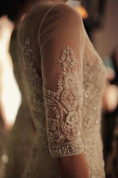 embroidered lace with iridescent bead details