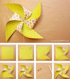 Como-hacer-molinillos-de-papel-que-gira-DIY–paper-Pinwheels How-to-make-paper-mills-that-turns-DIY – paper-Pinwheels Origami Paper, Diy Paper, Paper Art, Paper Crafts, Kids Origami, Summer Crafts, Fun Crafts, Diy And Crafts, Diy For Kids