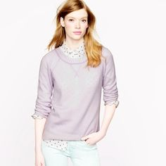 NWOT J.Crew Cashmere Plaited Sweatshirt Perfect for Spring! Two different shades of Cashmere yarn are woven together to give this slouchy, luxe sweatshirt a cool two-tone effect. Cashmere in a 7-gauge knit. Hits at hip. Three-quarter sleeves. True to size. J. Crew Sweaters Crew & Scoop Necks