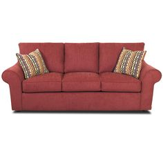Sectional Sleeper Sofa Klaussner Furniture Folio Rolled Arm Sofa with Accent Pillows homedecor sofa red
