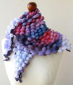 bubble scarf made in shibori technique; hand painted silk chiffon __ by Inga Juškienė-BARDAU, on etsy