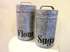 Tall Galvanized Canisters/Tins Set of 2 by SweetlyAgedVintage