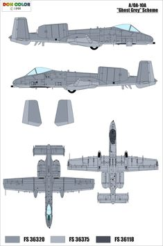 This scheme is for the in the grey scheme, comprising FS 36320 and with a false canopy painted The scheme is provided courtesy of Don Color Military Weapons, Military Aircraft, Paint Schemes, Color Schemes, A10 Warthog, Camouflage Colors, Tactical Equipment, Aviation Art, Machine Design