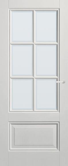 Panel Door Respect with white faceted glass | Classical | stock | Bruynzeel Doors